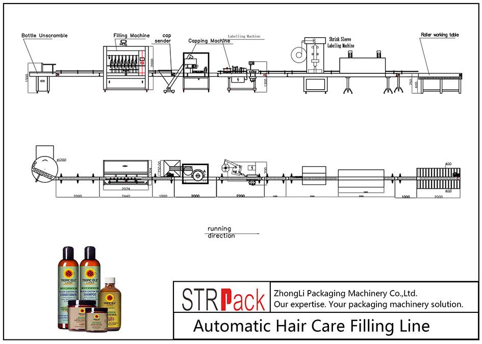 Автоматска линија за полнење за нега на коса