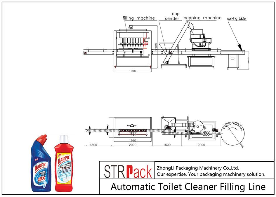 Автоматска линија за полнење на чистачот на тоалети