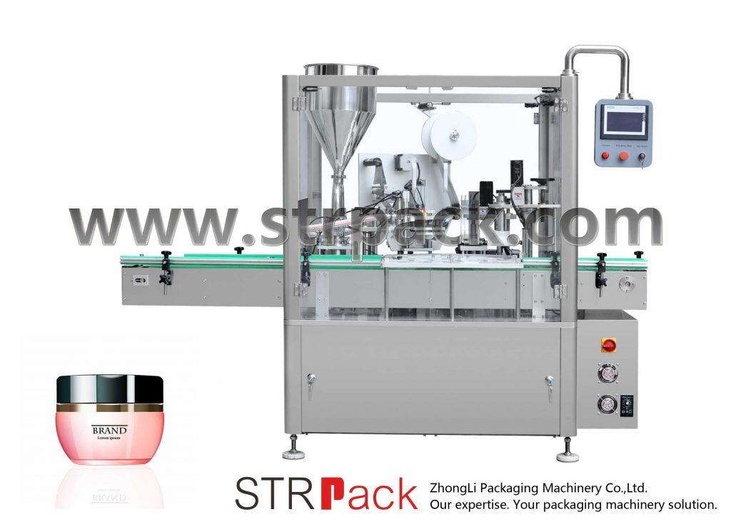 Машина за полнење, запечатување и затворање на крем
